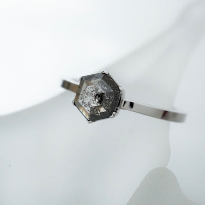 Hexagon Geometric Rose cut diamond ring in White Gold