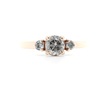 Three Stone Salt and Pepper Diamond Engagement Ring