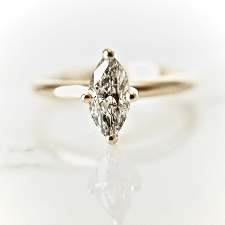 Create Your Own - Fancy Shape Salt and Pepper Diamond Solitaire Ring