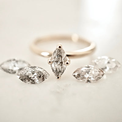 Salt and Pepper Marquise Diamond Engagement Ring