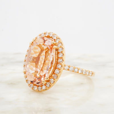 Large Pink Morganite Diamond Engagement Ring