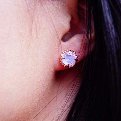 Moonstone Compass Halo Stud Earrings