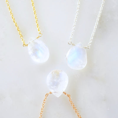 Pear Rainbow Moonstone Necklace