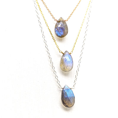 Pear Faceted Labradorite Briolette Necklace
