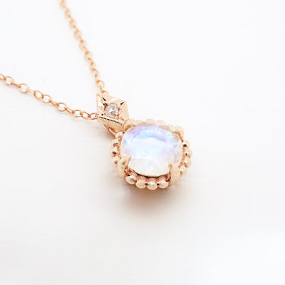 Moonstone and Diamond Compass Pendant