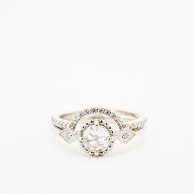 Rose Cut Diamond Compass Engagement Ring