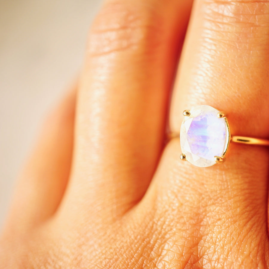 Medium Oval Moonstone Solitaire Ring