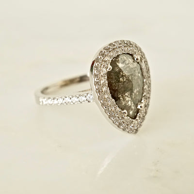 Salt and Pepper Pear Rose Cut Diamond Double Halo Engagement Ring