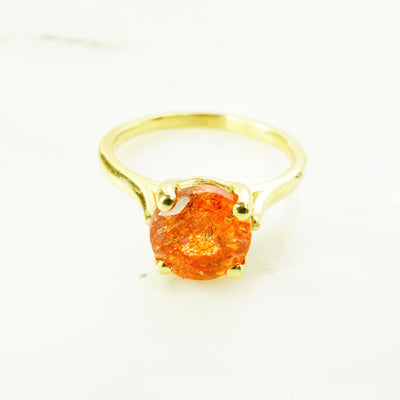 Sunstone Solitaire Ring
