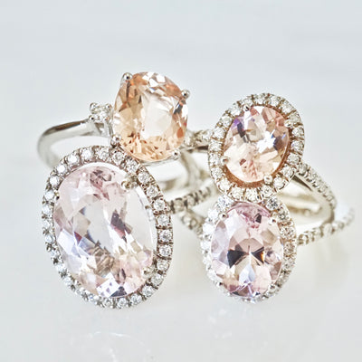 Morganite With Diamond Halo Engagement Ring
