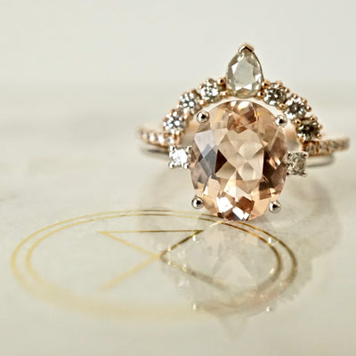Oval Morganite and Diamond Engagement Ring