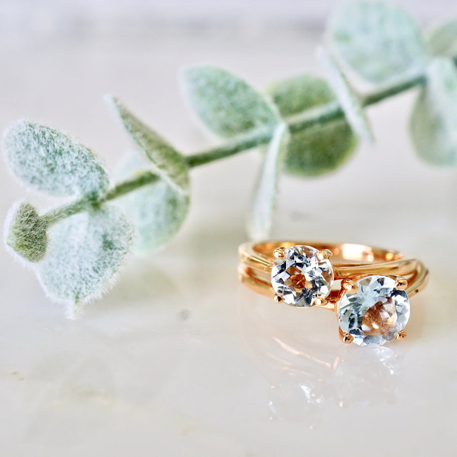 Aquamarine Birthstone Engagement Ring