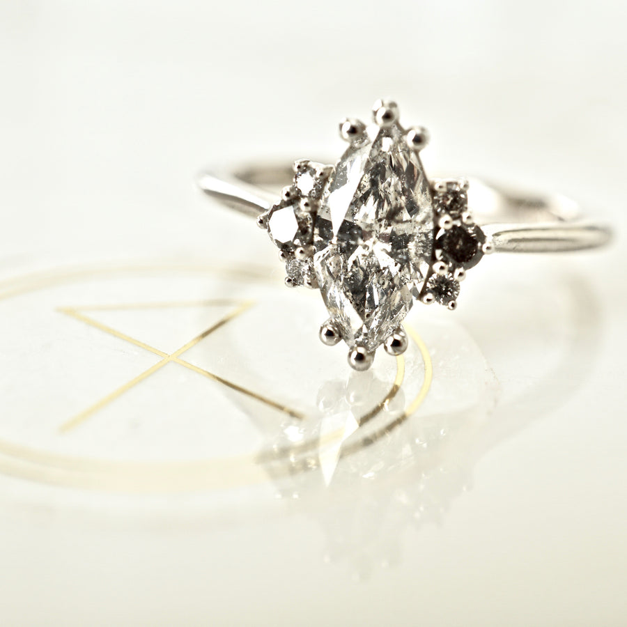 Marquise Salt and Pepper Diamond Engagement Ring