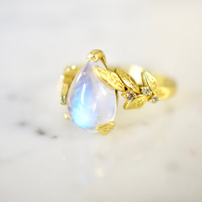 Moonstone Pear Cabochon Diamond Engagement Ring
