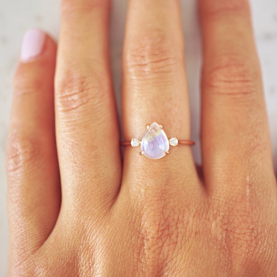 Rose Cut Moonstone And Diamond Ring