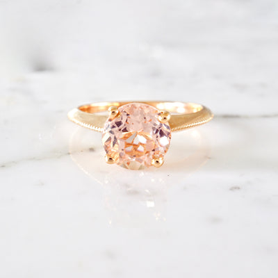 Morganite Solitaire Knife Edge Ring