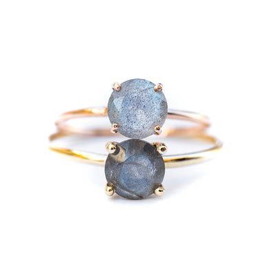 Labradorite Solitaire Engagement Ring