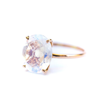 Oval Moonstone Solitaire Ring