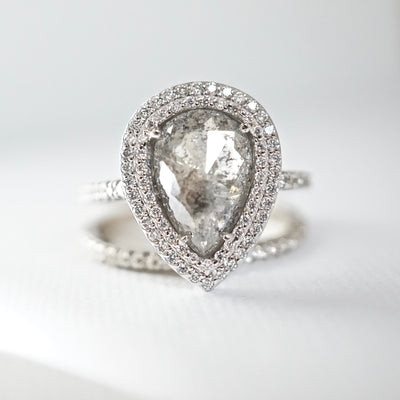 Bespoke Salt and Pepper Rose Cut Double Diamond Halo Engagement Ring