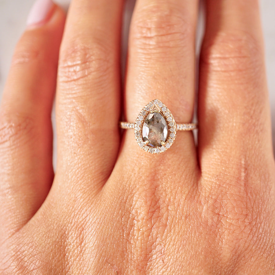 Natural Brown Salt and Pepper Rose Cut Diamond Halo Ring