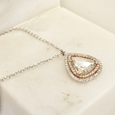 Clear Rose Cut Diamond Necklace, Pear Rose Cut Diamond With Double Halo Necklace