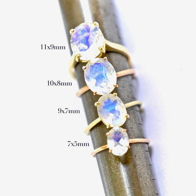 Small Oval Moonstone Solitaire Ring