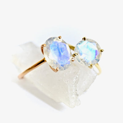 Large Oval Moonstone Solitaire Ring