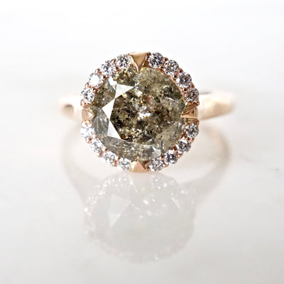 Salt and Pepper 3 Carat Diamond Compass Halo Engagement Ring