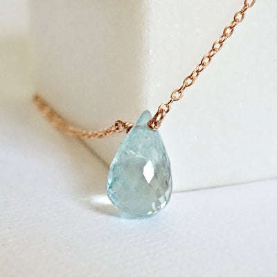 Aquamarine Necklace, March Birthstone Necklace
