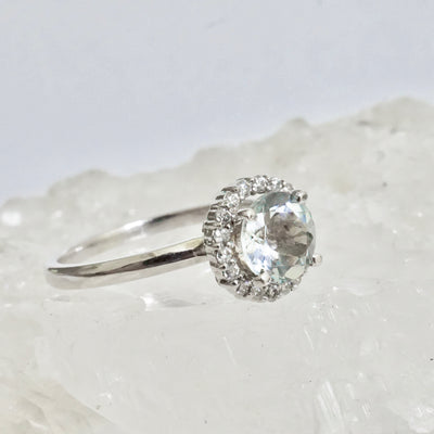 Aquamarine Diamond Halo Engagement Ring