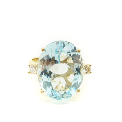Large Aquamarine Diamond Ring,