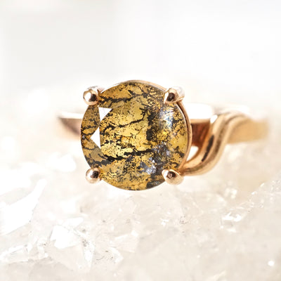 Tourmalinated Yellow Quartz Ring