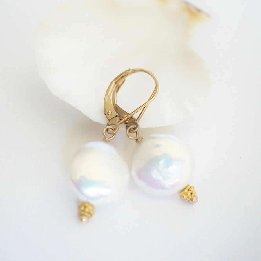 Coin Pearl Dangle Earrings