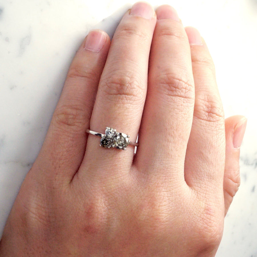 Salt And Pepper Diamond Cluster Ring