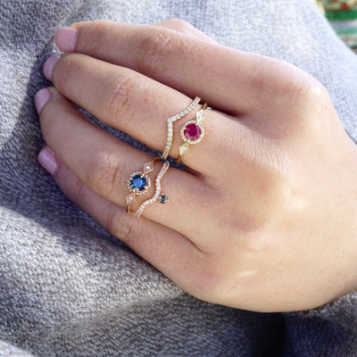 Ruby Diamond Compass Ring