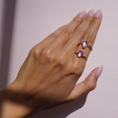 Pear Rose Cut Moonstone Ring