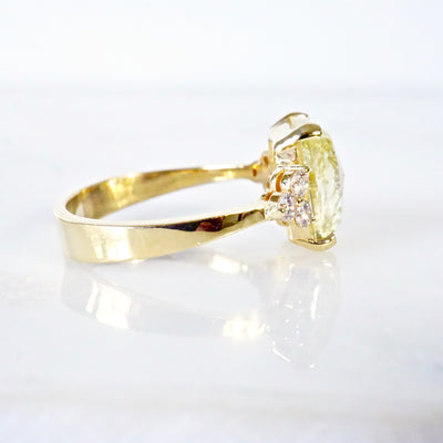 RESERVED Yellow Rose Cut Diamond Engagement Ring