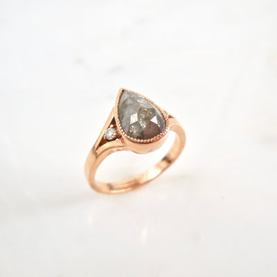 One-of-a-kind Rose Cut Salt and Pepper Diamond Ring