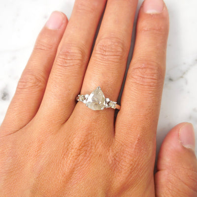 Light Gray Pear Rose Cut Diamond Engagement Ring