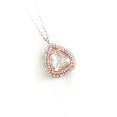 Clear Rose Cut Diamond With Double Diamond Halo Necklace, Diamond Necklace