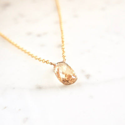 Pear Cognac Briolette Diamond Necklace