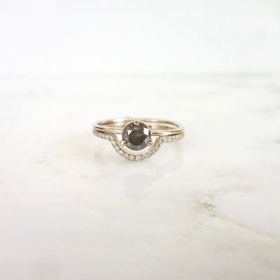 Dark Grey Salt and Pepper Diamond Engagement Ring