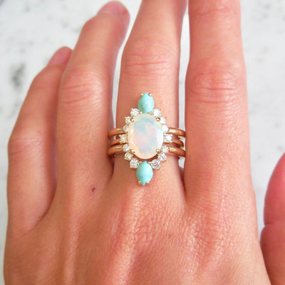 Marquise Turquoise And Diamond Arc Ring