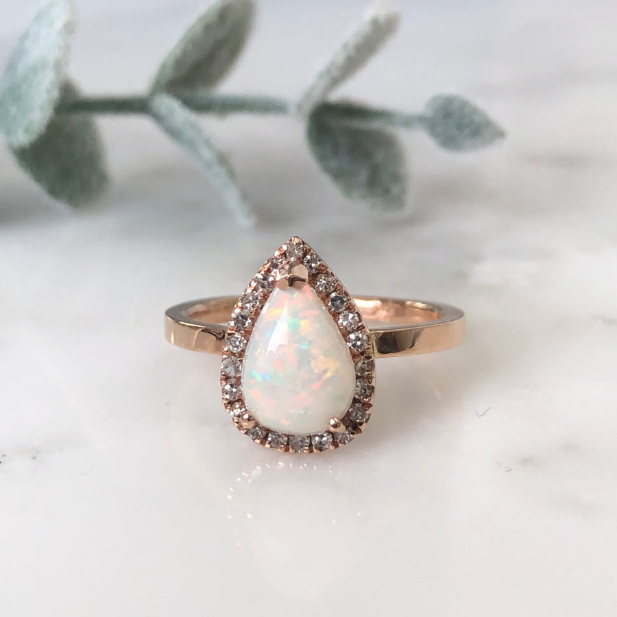 Australian Opal Diamond Halo Engagement Ring