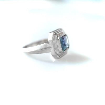 Montana Teal Blue Sapphire Engagement Ring