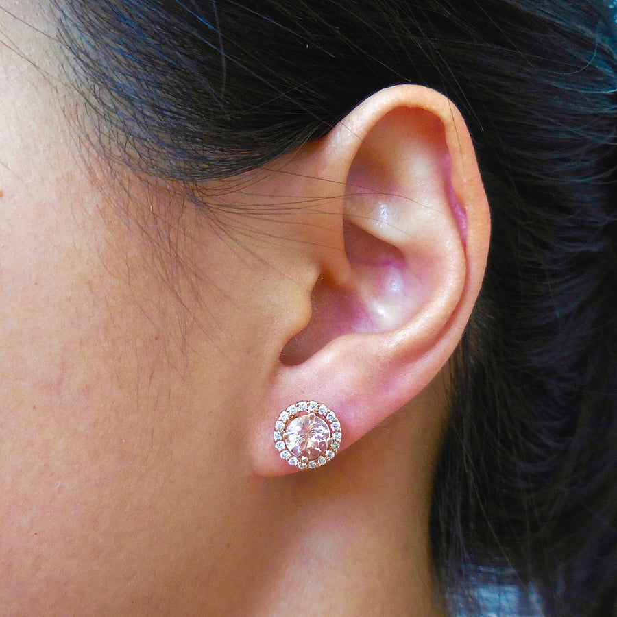 Morganite Diamond Halo Stud Earrings