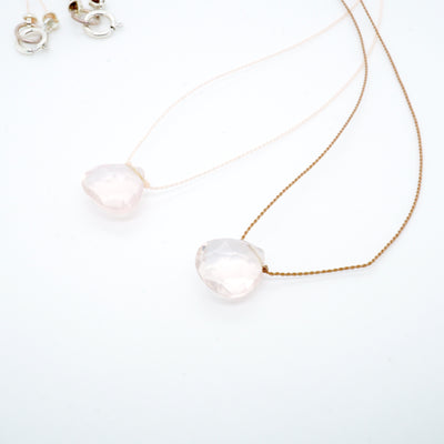 Moonstone or Rose Quartz Necklace