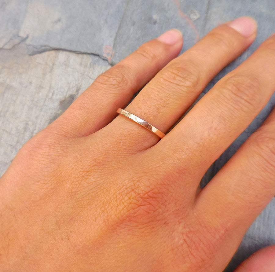 Flat Gold Band, Gold Wedding Band
