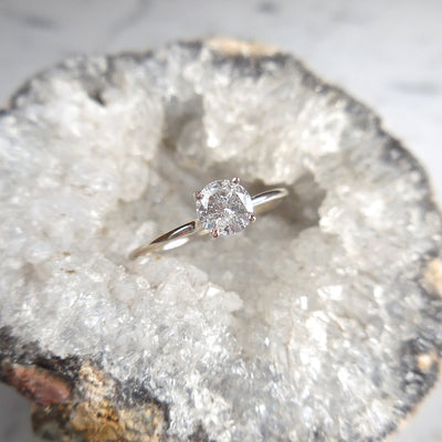White Gold Salt and Pepper Diamond Engagement Ring