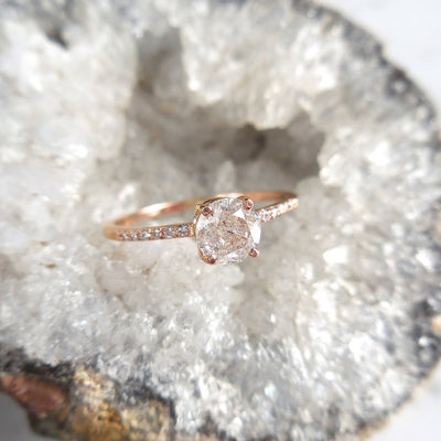 Salt and Pepper Diamond Engagement Ring With Side Diamonds